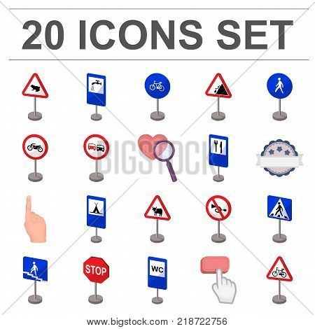 Different types of road signs cartoon icons in set collection for design. Warning and prohibition signs vector symbol stock  illustration.