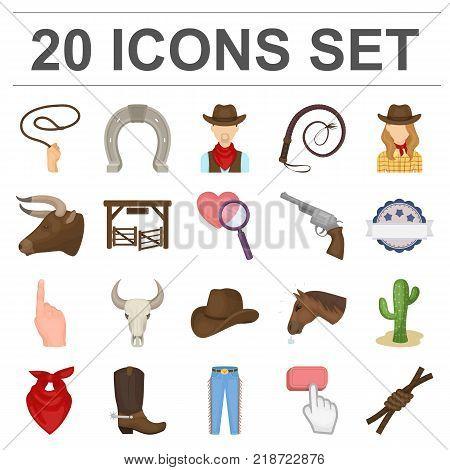 Rodeo, competition cartoon icons in set collection for design. Cowboy and equipment vector symbol stock  illustration.