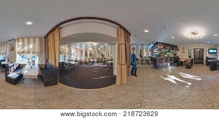 MINSK BELARUS - NOVEMBER 4 2011: Panorama in interior of vintage restaurant with a hussar. Full 360 by 180 degree seamless spherical panorama in equirectangular projection