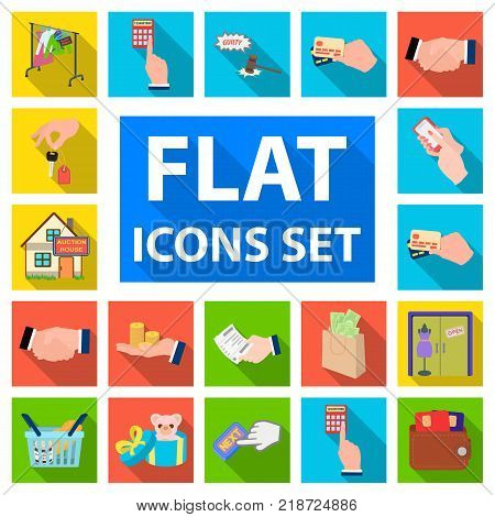 E-commerce and business flat icons in set collection for design. Buying and selling vector symbol stock illustration.