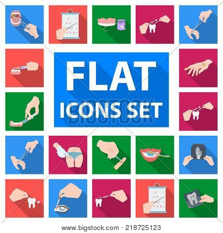 Manipulation by hands flat icons in set collection for design. Hand movement in medicine vector symbol stock illustration.