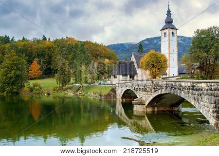 St John church the Bohinj lake Julian Alps in Slovenia