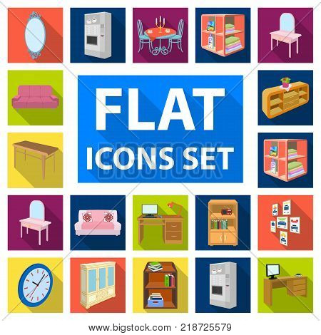 Furniture and interior flat icons in set collection for design. Home furnishings vector isometric symbol stock  illustration.