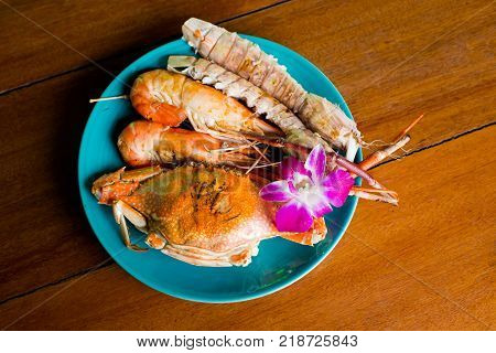 Thai Alive Crab In Restaurant