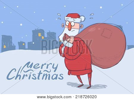 Christmas card of funny confused Santa Claus with big bag of gifts on evening snowy city background. Santa looks lost. Horizontal vector illustration. Cartoon character. Lettering. Copy space.