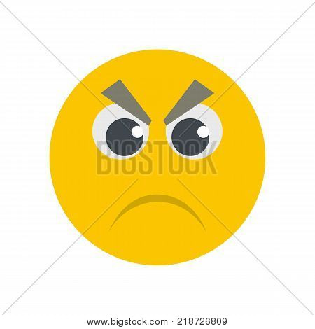 Angry smile icon. Vector flat illustration of angry smile icon isolated on white background