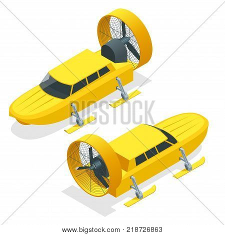 Isometric Aerosani, propeller-driven snowmobile, running on skis, used for communications, mail deliveries, medical aid, emergency recovery. Aerosled vector illustration isolated white background.