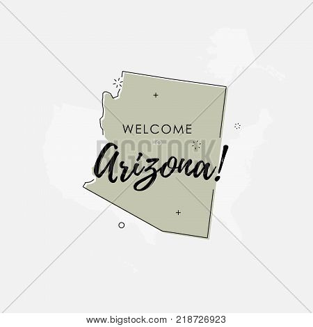 Vector illustration of greeting sign with welcome to Arizona text and state silhouette.