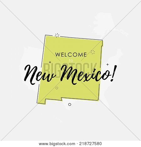 Vector illustration of greeting sign with welcome to New Mexico text and state silhouette.