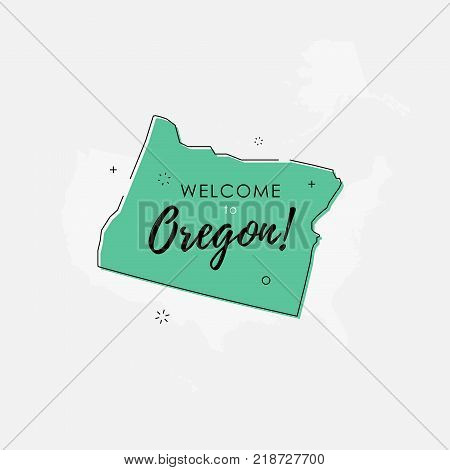 Vector illustration of greeting sign with welcome to Oregon text and state silhouette.