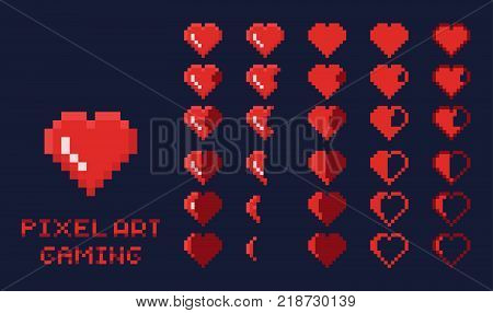 8 bit pixel art GUI Game design element - heart for health gradation isolated vector