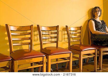 Mädchen warten in Office für interview