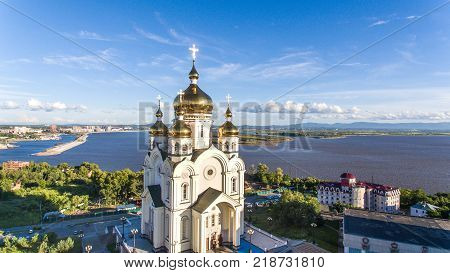 Khabarovsk, Slavy square, Orthodox Cathedral , house radio shot with Quad copter in the summer of