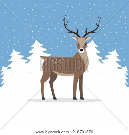 Reindeer with antler on background of trees. Holiday winter landscape with deer in frozen forest. Vector illustration.