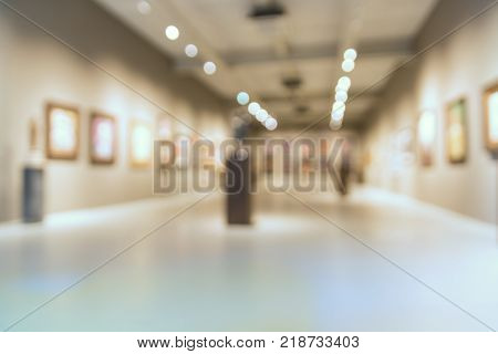 Abstract Blur Defocus Background Of Art Gallery Museum Or Showroom