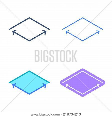 Square concept linear symbols. Area and acreage line symbols and pictograms. The place size dimension and measuring vector outline icon set. Thin contour infographic elements for web design, networks.