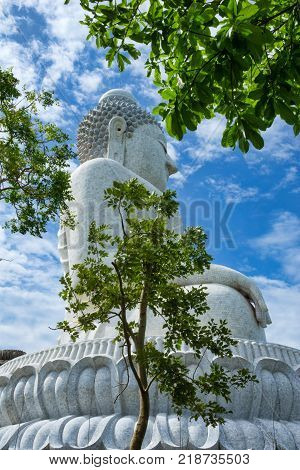 Phra Phutta Ming Mongkol Akenakiri Buddha statue with tree in the foreground in Phuket; Thailand