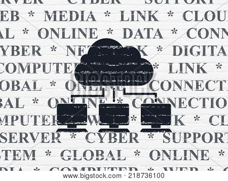 Cloud networking concept: Painted black Cloud Network icon on White Brick wall background with  Tag Cloud