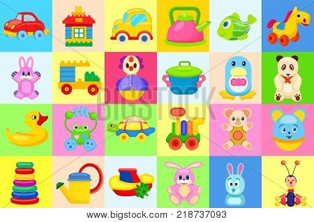 Childrens soft and plastic toys. Pink bunnies, cute bears, blue penguin, plastic cookware, small constructors and cute cars vector illustrations. poster