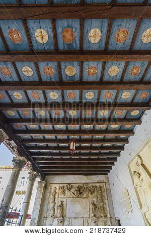 The Loggia s wooden roof is the city of Trogir Croatia.