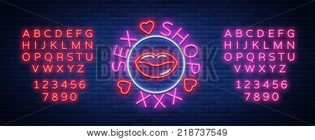 Sex shop logo, emblem in neon style. Neon effect, grocery store, intimate items. Vector illustration. Bright night banner, luminous sign, night sex advertising shop. Editing text neon sign.
