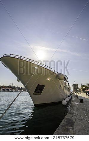 Yacht parked in the Trogir s Marina Croatia