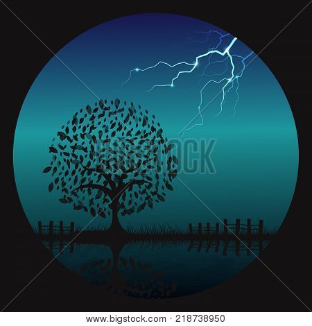 Thunder Bolt Hit A Lonely Tree At Night With Reflection In Water. Vector Illustration Background.