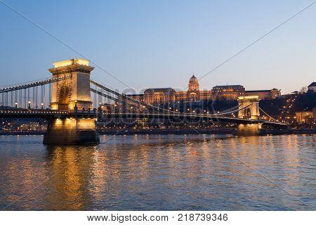 Budapest panorama Chain Bridge the background Buda Castle Hungary
