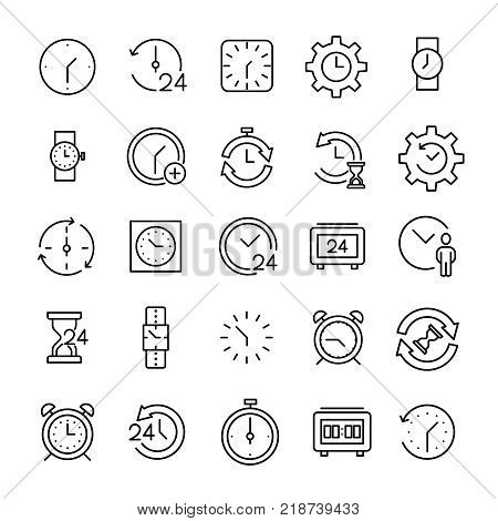 Set of 25 time thin line icons. High quality pictograms of clock. Modern outline style icons collection. Timer, watch, alarm, etc.