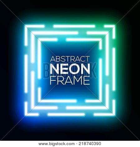 Gradient blue and green neon light abstract squares. Shining techno square frame. Night club electric bright 3d box design on dark backdrop. Neon background with glow. Technology vector illustration.