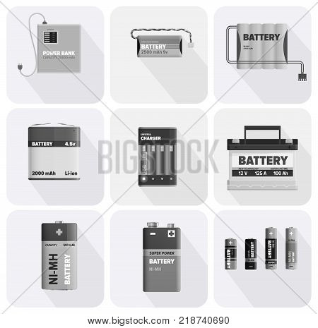 Black and white charging devices in square cells isolated on white background. Electric appliances to recharge energy for longer usage vector illustration. Power containers to restore devices.