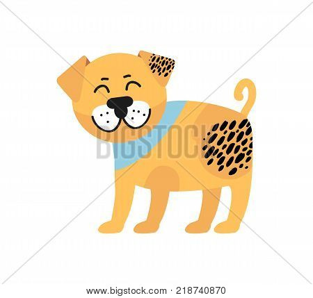 Smiling pug with blue collar on its neck with black spots and raised tail image of dog full of energy vector illustration isolated on white background.