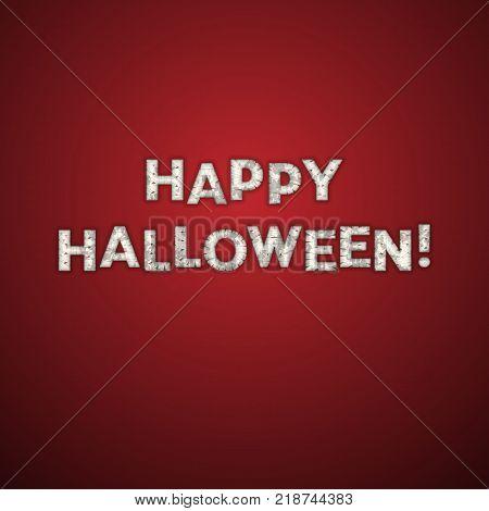 Happy Halloween Greeting Card. Mummy Bandage Font. Vector