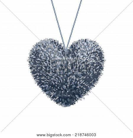 Vector colorful illustration of fluffy pom-pom in the shape of a heart hanging on the rope isolated on white background. Decorative elements for Valentines day design.