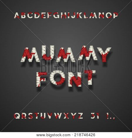 Mummy Bandage Font With Blood. Halloween Sans Serif Typeface. Letters, Punctuation Marks, Numbers 3 And 1. Latin Alphabet. Vector
