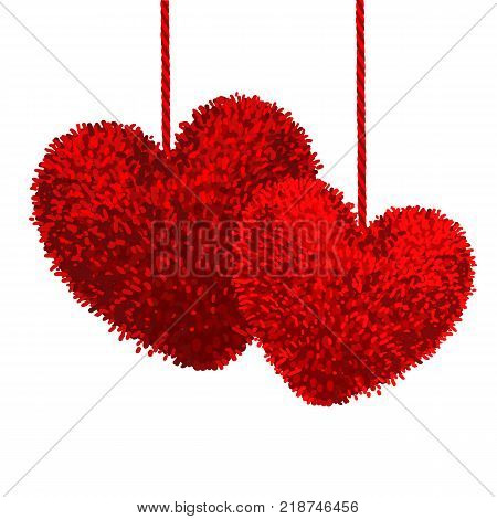 Vector colorful illustration of two fluffy pom-pom in the shape of a heart hanging on the rope isolated on white background. Decorative elements for Valentines day design.