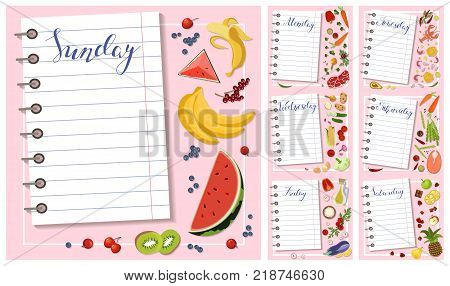 Fresh healthy food and sheet of diet plan for a week in flat design. Vector illustration eps 10