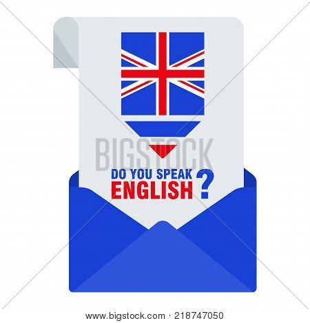 Bright flat vector banners with envelope for English language learning. Courses of foreign language schools for studying British pronunciation. Information for site social network poster and flyer.