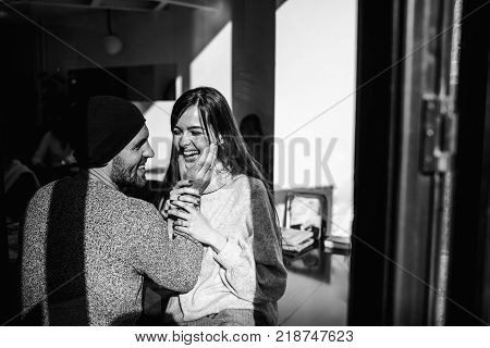 Two Cheerful Young Loving People Who Drank Coffee At Coffee Shops