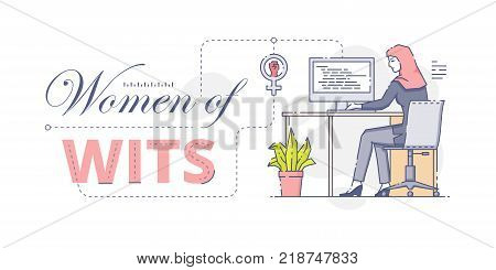 Vector illustration of Muslim female worker sitting at stationery computer with women of wits words.