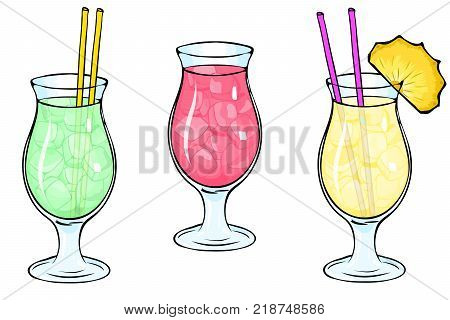 Set of three images of cocktails with ice. A glass glass for Pina Colada. Refreshing, summer cocktails, straw, slice of pineapple, fruit cocktails, milkshakes. For the menu of bars, restaurants. eps10