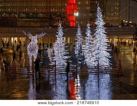 STOCKHOLM - DEC 12, 2017: Gigantic elk or moose christmas decoration made of led light at Sergels torg Stockholm Sweden. December 12, 2017