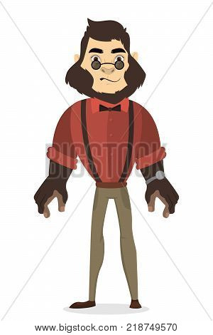 Isolated humanized gorilla man icon. Wild animals with human clothes.