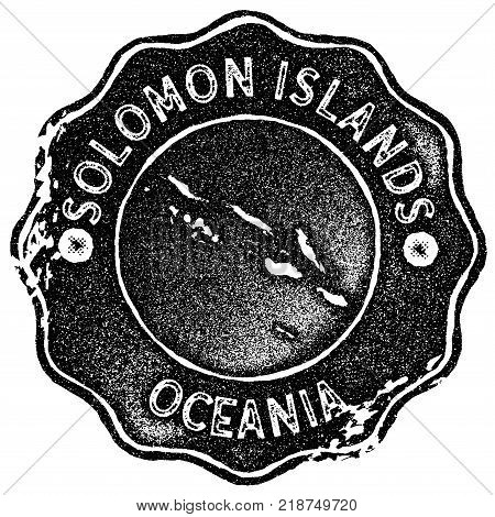 Solomon Islands Map Vintage Stamp. Retro Style Handmade Label, Badge Or Element For Travel Souvenirs