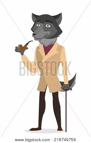 Isolated humanized wolf man icon. Wild animals with human clothes.