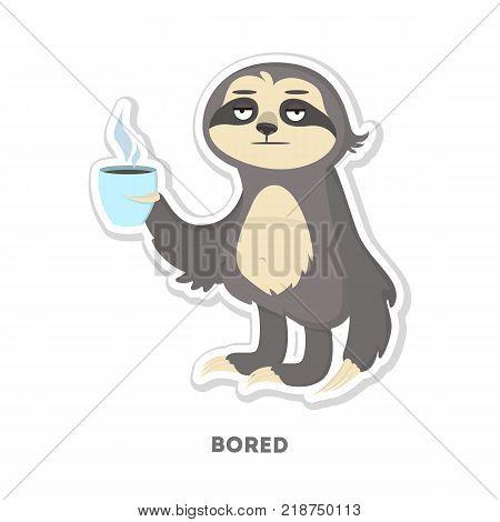 Bored sloth sticker. Isolated funny cartoon character.