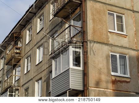 A multi-storey residential building of the soviet period. Apartment building. Soviet construction