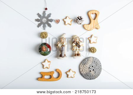Christmas composition background. Gift, christmas, new year decorations, snowflakes, stars, figures, pine cones Flat lay top view