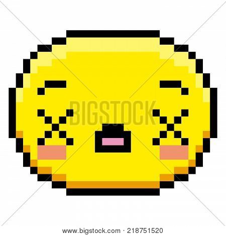 Vector Pixel Cartoon Dead Face Isolated On White Background