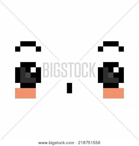 Vector Pixel Cartoon Surprised Face Isolated On White Background